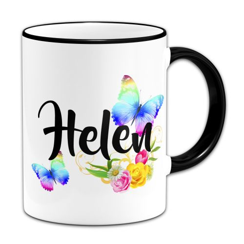 Personalised Beautiful Butterflies & Flowers Novelty Gift Novelty Gift Mug - Black Handle/Rim